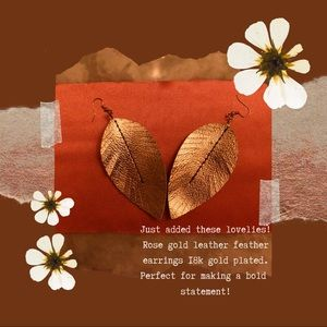 Rose Gold Leather Feather Earrings